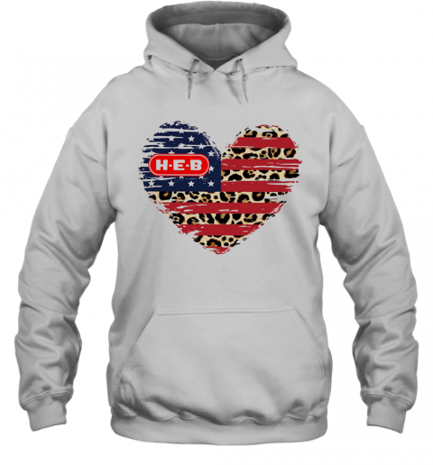 HEB American Flag Veteran Independence Day Heart T-Shirt Unisex Hoodie