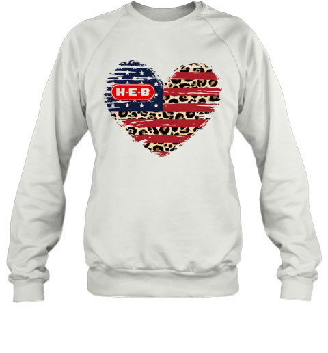 HEB American Flag Veteran Independence Day Heart T-Shirt Unisex Sweatshirt