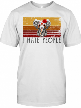 Hippie Elephant I Hate People Vintage Retro T-Shirt