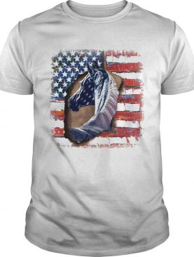 In horse cool American flag shirt