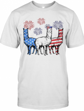 Independence Day Llamas Wear Bow Tie Firework T-Shirt