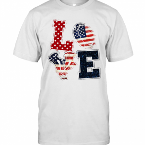 Love Rugby American Flag Veteran Independence Day T-Shirt Classic Men's T-shirt