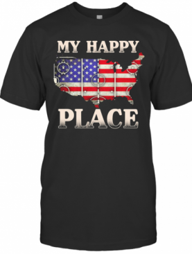 My Happy Place American Flag Independence Day T-Shirt