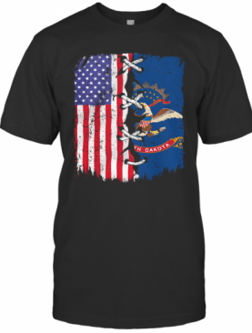 North Dakota And American Flag Independence Day T-Shirt