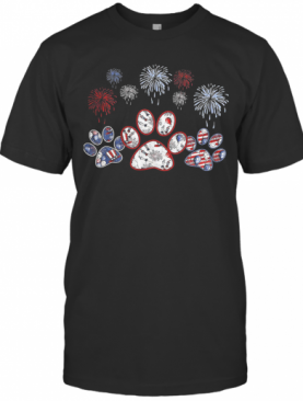 Paws Dog Firework America 4Th Of July Independence Day T-Shirt