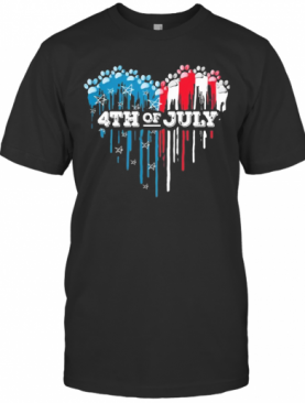 Paws Heart 4Th Of July American Flag Independence Day T-Shirt