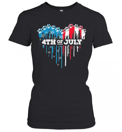 Paws Heart 4Th Of July American Flag Independence Day T-Shirt Classic Women's T-shirt