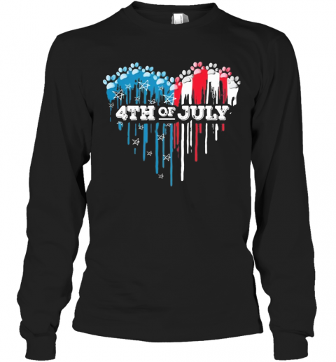 Paws Heart 4Th Of July American Flag Independence Day T-Shirt Long Sleeved T-shirt