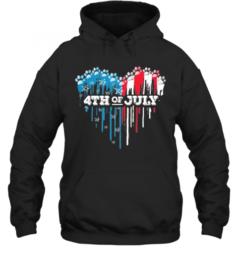 Paws Heart 4Th Of July American Flag Independence Day T-Shirt Unisex Hoodie