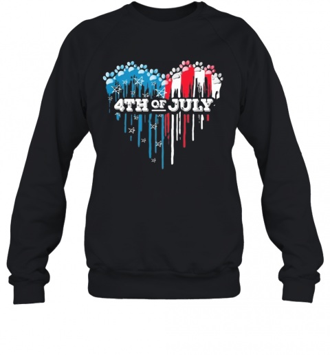 Paws Heart 4Th Of July American Flag Independence Day T-Shirt Unisex Sweatshirt