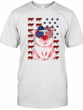 Pig American Flag Veteran Independence Day T-Shirt