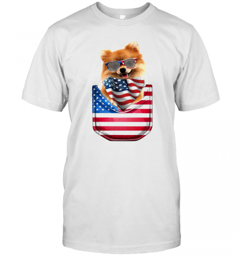 Pomeranian Waist Pack American Flag Independence Day T Shirt Classic Mens T shirt
