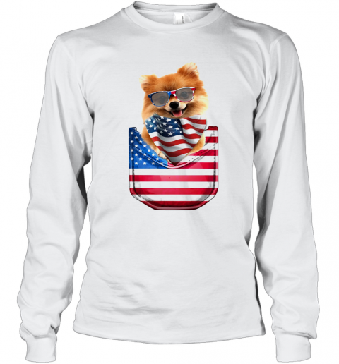 Pomeranian Waist Pack American Flag Independence Day T-Shirt Long Sleeved T-shirt