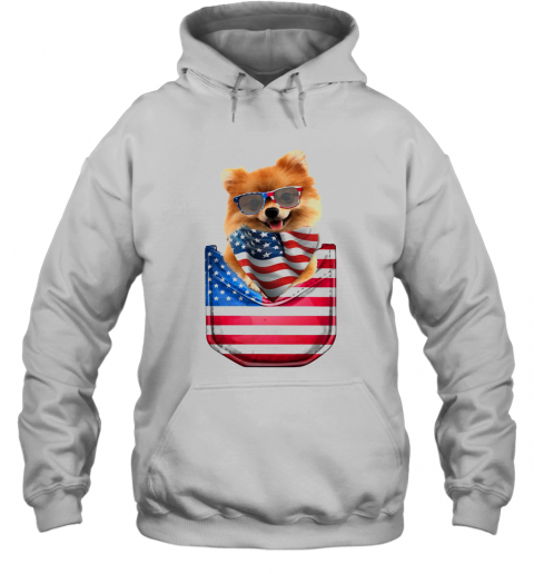 Pomeranian Waist Pack American Flag Independence Day T-Shirt Unisex Hoodie