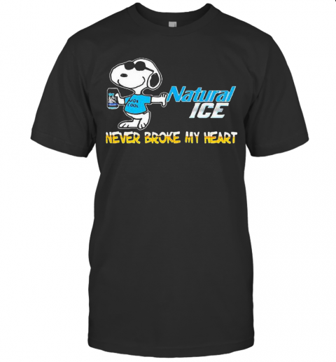 Snoopy Hug Natural Ice Never Broke My Heart T Shirt Classic Mens T shirt