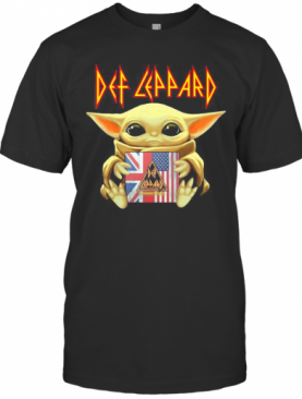Star Wars Baby Yoda Hug Def Leppard American Flag Independence Day T-Shirt