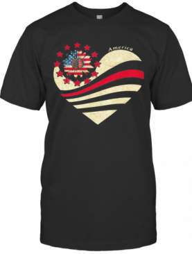 Sunflower Heart American Flag Independence Day T-Shirt