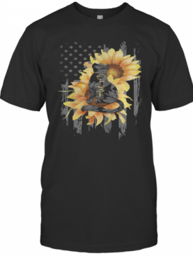 Sunflowers Cat Mom American Flag Independence Day T-Shirt
