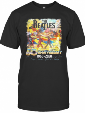 The Beatles 60Th Anniversary 1960 2020 Characters Signatures Art T-Shirt