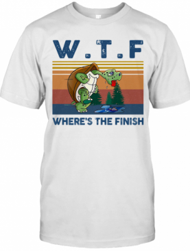 WTF Where'S The Finish Turtle Vintage Retro T-Shirt