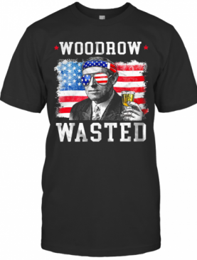 Woodrow Wasted Drinking 4Th Of July American Flag T-Shirt