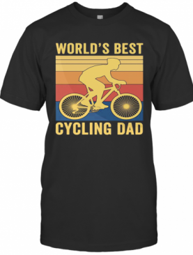 World'S Best Cycling Dad Vintage Retro T-Shirt