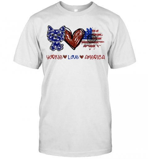 Yorkie Love America 4Th Of July Independence Day T Shirt Classic Mens T shirt