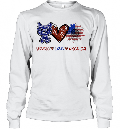 Yorkie Love America 4Th Of July Independence Day T-Shirt Long Sleeved T-shirt