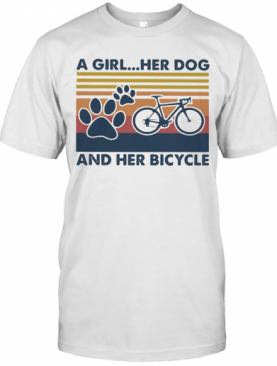 A Girl Her Dog And Her Bicycle Vintage Retro T-Shirt
