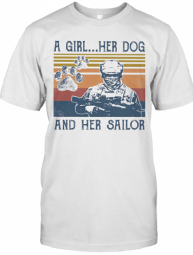 A Girl Her Dog And Her Sailor Footprint Vintage Retro T-Shirt