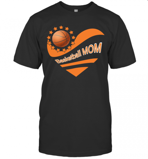 Basketball Mom Heart American Flag Independence Day T Shirt Classic Mens T shirt