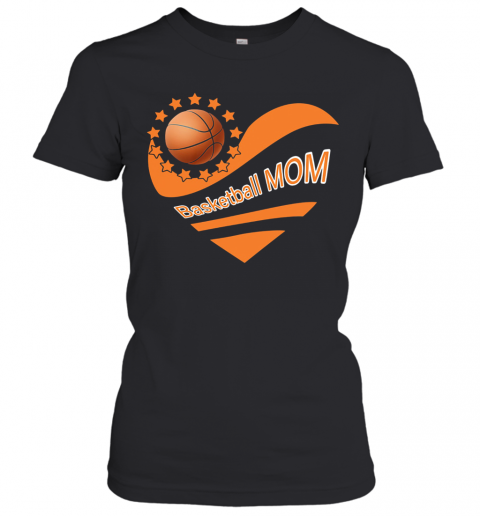 Basketball Mom Heart American Flag Independence Day T-Shirt Classic Women's T-shirt