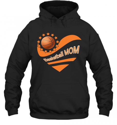 Basketball Mom Heart American Flag Independence Day T-Shirt Unisex Hoodie