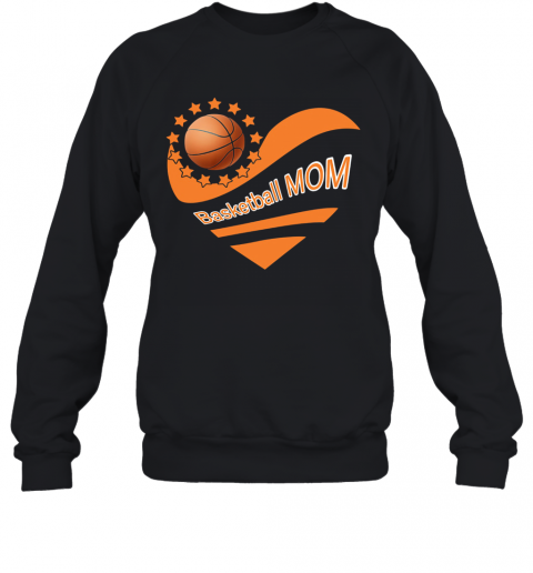 Basketball Mom Heart American Flag Independence Day T-Shirt Unisex Sweatshirt