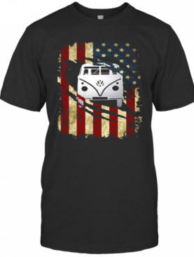 Bus American Flag Happy Independence Day T-Shirt