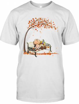 Charlie Brown And Snoopy Fall Maple Leaves T-Shirt