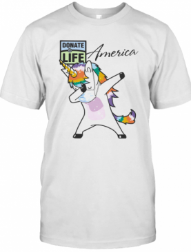 Dabbing Unicorn Mask Donate Life America Logo Coronavirus T-Shirt