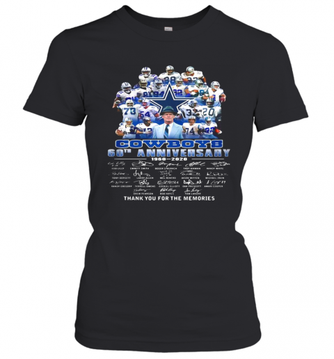 Dallas cowboys football team 60th anniversary 1960 2020 thank you for the memories signatures  T-Shirt Classic Women's T-shirt