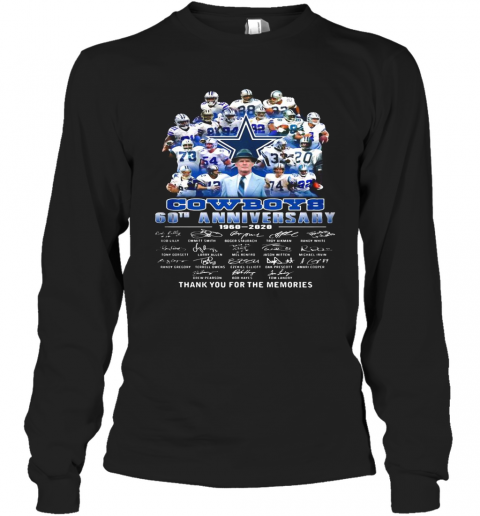 Dallas cowboys football team 60th anniversary 1960 2020 thank you for the memories signatures  T-Shirt Long Sleeved T-shirt
