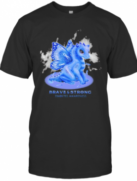 Dragon Butterfly Brave And Strong Diabetes Awareness T-Shirt