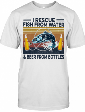 Fishing I Rescue Fish From Water And Beer From Bottles Vintage Retro T-Shirt