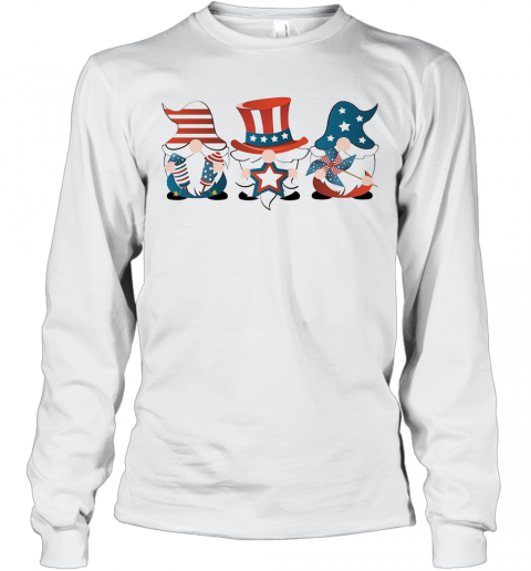 Gnomes America 4Th Of July Independence Day Stars T-Shirt Long Sleeved T-shirt