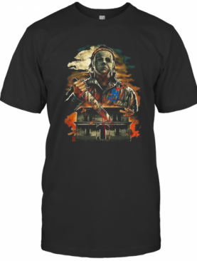 Halloween Michael Myers Holding Knife Fire T-Shirt
