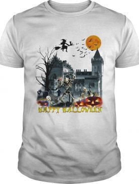 Happy Hlloween Bone Witch Bird Old Building Pumpkin Sun Black shirt