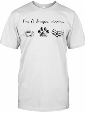 I'M A Simple Woman Coffee Cat Paw Book T-Shirt