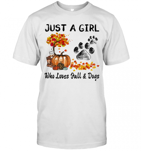 Just A Girl Who Loves Fall And Paw Dogs Pumpkin Maple Leaves T-Shirt Classic Men's T-shirt