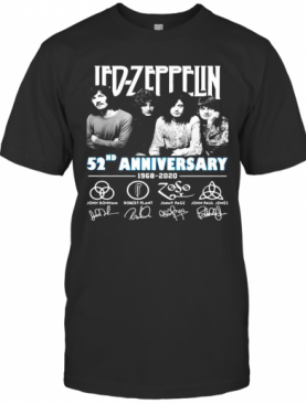 Led Zeppelin 52Nd Anniversary 1968 2020 Thank You For The Memories Signatures T-Shirt