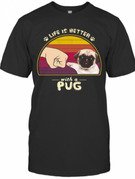 Life Is Better With A Siberian Pug Hand Footprint Vintage Retro T-Shirt