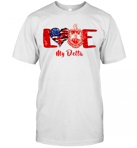 Love Heart American Flag Delta Sigma Theta T-Shirt Classic Men's T-shirt