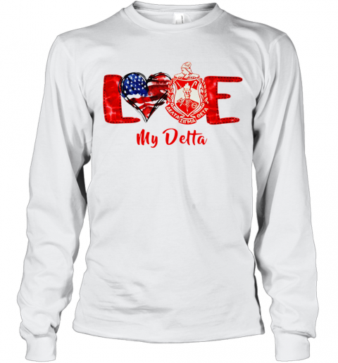 Love Heart American Flag Delta Sigma Theta T-Shirt Long Sleeved T-shirt